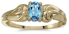 14k Yellow Gold Oval Blue Topaz Ring (CM-RM1037X-12)