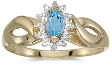 10k Yellow Gold Marquise Blue Topaz And Diamond Ring (CM-RM1050-12)