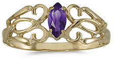 14k Yellow Gold Marquise Amethyst Filigree Ring (CM-RM1188X-02)