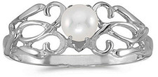 14k White Gold Pearl Filigree Ring (CM-RM1188XW-06)