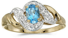 10k Yellow Gold Oval Blue Topaz And Diamond Swirl Ring (CM-RM1190-12)