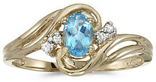 10k Yellow Gold Oval Blue Topaz And Diamond Ring (CM-RM1219-12)
