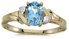 10k Yellow Gold Oval Blue Topaz And Diamond Ring (CM-RM1248-12)