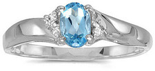 14k White Gold Oval Blue Topaz And Diamond Ring (CM-RM1503XW-12)