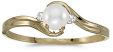 14k Yellow Gold Pearl And Diamond Ring (CM-RM1678X-06)
