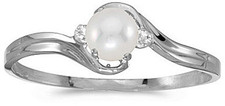 14k White Gold Pearl And Diamond Ring (CM-RM1678XW-06)
