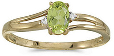 14k Yellow Gold Oval Peridot And Diamond Ring (CM-RM1992X-08)