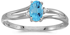 14k White Gold Oval Blue Topaz And Diamond Ring (CM-RM1992XW-12)