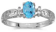 14k White Gold Oval Blue Topaz And Diamond Filigree Ring (CM-RM2209XW-12)