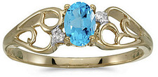 14k Yellow Gold Oval Blue Topaz And Diamond Ring (CM-RM2582X-12)