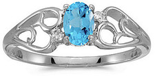 14k White Gold Oval Blue Topaz And Diamond Ring (CM-RM2582XW-12)