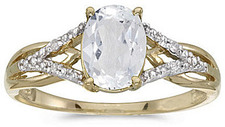 14k Yellow Gold Oval White Topaz And Diamond Ring (CM-RM2620X-04)
