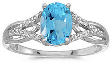 14k White Gold Oval Blue Topaz And Diamond Ring (CM-RM2620XW-12)
