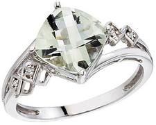 14K White Gold Cushion Green Amethyst and Diamond Ring (CM-RM2808W-GA)