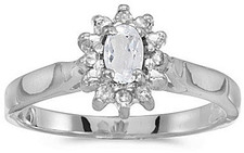 14k White Gold Oval White Topaz And Diamond Ring (CM-RM6410XW-04)