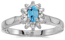 14k White Gold Oval Blue Topaz And Diamond Ring (CM-RM6410XW-12)