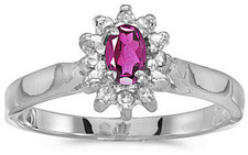 14k White Gold Oval Pink Topaz And Diamond Ring (CM-RM6410XW-PT)
