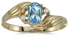 14k Yellow Gold Oval Blue Topaz And Diamond Ring (CM-RM671X-12)
