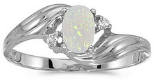 14k White Gold Oval Opal And Diamond Ring (CM-RM671XW-10)