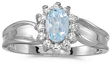 10k White Gold Oval Aquamarine And Diamond Ring (CM-RM804W-03)