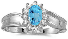 10k White Gold Oval Blue Topaz And Diamond Ring (CM-RM804W-12)