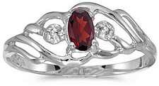 10k White Gold Oval Garnet And Diamond Ring (CM-RM908W-01)