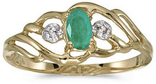 14k Yellow Gold Oval Emerald And Diamond Ring (CM-RM908X-05)