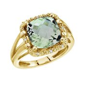 14K Yellow Gold 10 mm (3/8) Green Amethyst and Diamond Rope Ring (CM-RM2810-GA)