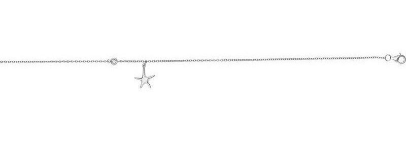 "10"" Rhodium Plated Sterling Silver 1.2mm Cable Link Anklet w/ Hanging Starfish Charm & Single Round CZ"