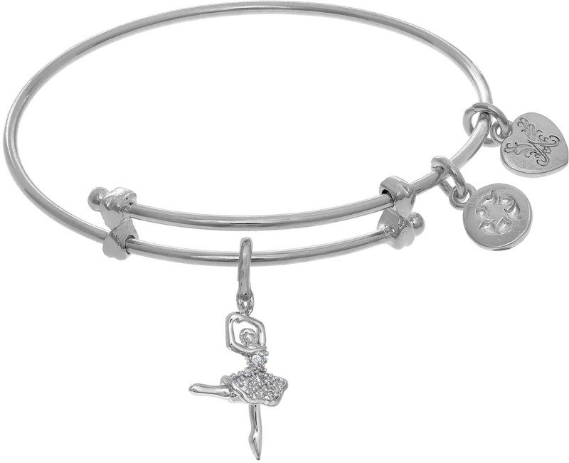 "6"" Adjustable White Brass Ballerina Charm Angelica Bangle Bracelet (Tween)"