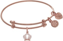 6 Adjustable Pink Finish Crown Small Charm Angelica Bangle Bracelet (Tween)