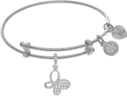6 Adjustable White Brass Butterfly Charm CZ Angelica Bangle Bracelet (Tween)