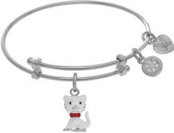 6 Adjustable White Brass Cat Charm Angelica Bangle Bracelet (Tween Collection)