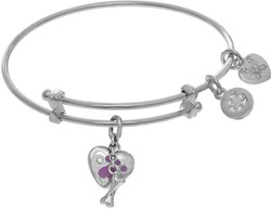 6 Adjustable White Brass Paw Print Charm Angelica Bangle Bracelet (Tween)