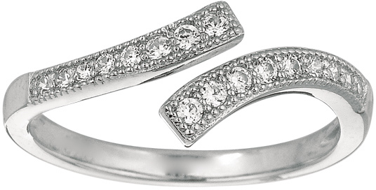 Silver Rhodium Plated Shiny By Pass Like Toe Ring w/ White Cubic Zirconia (CZ) (BTAGTR164)