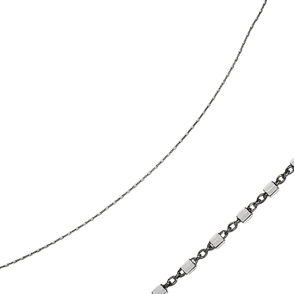"9"" Rhodium & Ruthenium Plated 925 Sterling Silver 1.4mm (0.06"") Diamond Cut Cable & White Bar Anklet w/ Lobster Clasp"