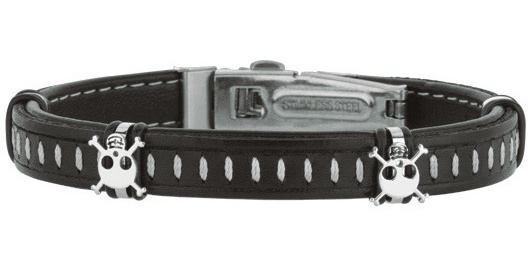 "Stainless Steel 8.5"" Shiny Dark Brown Leather Bracelet with Deployment Clasp & White Skull"