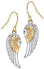 10K Yellow & White Gold Diamond Cut Polished Angel Wing Dangle Earrings