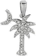 Silver Rhodium Plated Shiny Palm Tree Sea Life Pendant w/ White Cubic Zirconia (CZ) (BTAGCH305)