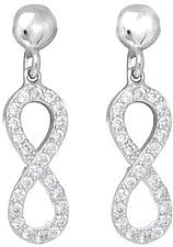 Figure 8 Infinity Symbol CZ Post Dangle Earrings Rhodium Plated 925 Sterling Silver
