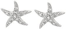 Silver Rhodium Plated Shiny Starfish Sea Life Post Earrings w/ White Cubic Zirconia (CZ)