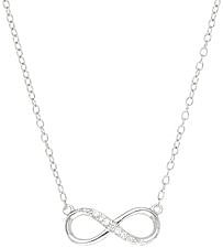 18 CZ Infinity Symbol Necklace Rhodium Plated 925 Sterling Silver Shiny Cable (BTAGN1175-18)