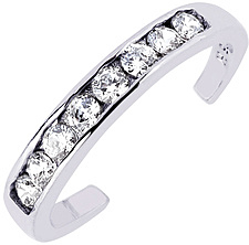 Silver Rhodium Plated Shiny Cuff Type Toe Ring w/ White Cubic Zirconia (CZ) (BTAGTR100)