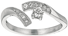 Silver Rhodium Plated Shiny By Pass Like Toe Ring w/ White Cubic Zirconia (CZ) (BTAGTR163)