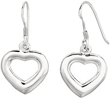 Silver Rhodium Plated Shiny Puffed Open Heart Dangle Earrings