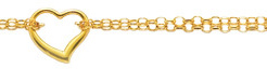 10 14K Yellow Gold 1.9mm (0.07) Polished Double Strand Rolo Chain w/ 1 Station Open Heart Adjustable Anklet w/ Pear Shape Clasp