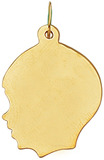 14K Yellow Gold Shiny Boy Head Charm (BTCH301)