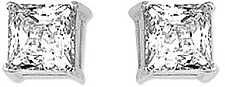 14K White Gold Shiny 6.0mm (1/4) Square Faceted White Cubic Zirconia (CZ) Stud Earrings