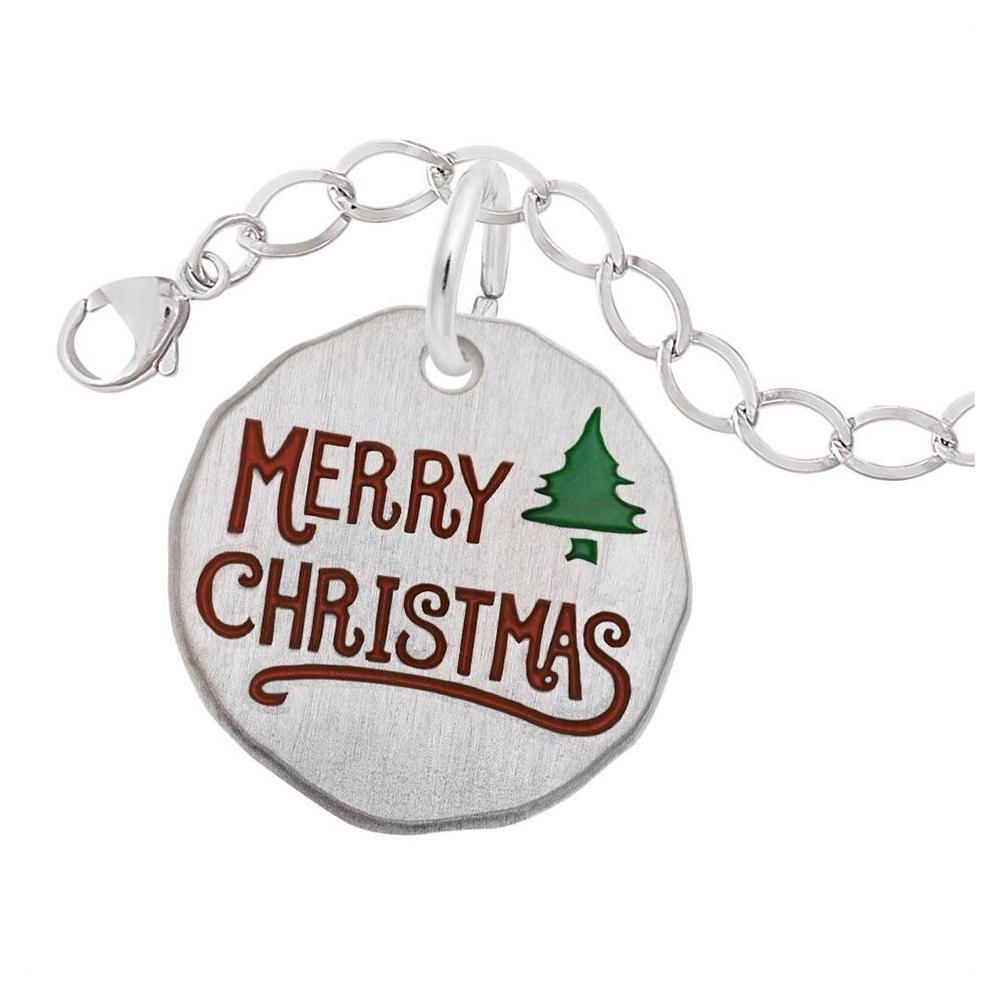 "7"" Sterling Silver Charm Bracelet w/ Merry Christmas Charm by Rembrandt"