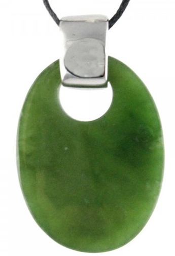 Genuine Natural Nephrite Jade with Sterling Silver Hoop Pendant - DISCONTINUED